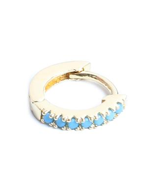 Marcia Lisse gold tone mini hoop earrings with turquoise stones UN CHIC FOU