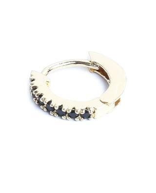 Marcia Lisse gold tone mini hoop earrings with black zircon UN CHIC FOU