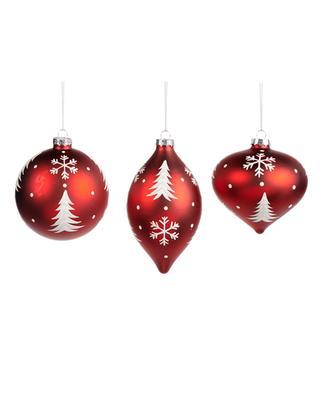 Set de 3 boules de Noël motif flocons de neige GOODWILL