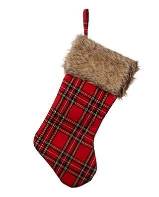Chaussette de Noël tartan et fourrure synthétique GOODWILL