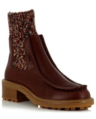 Jamie Flat Chelsea Leather bootie with knitted sock CHLOE