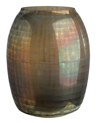 Vase en verre marron Checkered L POLS POTTEN