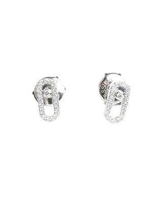 Puces d'oreilles en or blanc pavées de diamants Move Uno MESSIKA