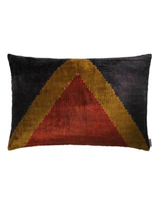Ikat printed rectangular silk velvet cushion ANA KHEL