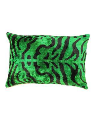 Ikat zebra printed rectangular silk velvet cushion ANA KHEL
