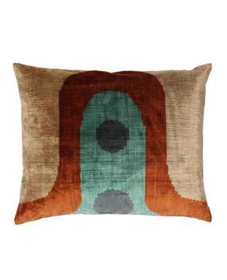 Ikat printed square silk velvet cushion ANA KHEL
