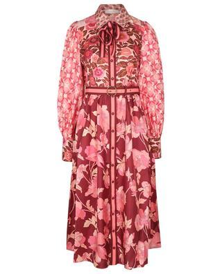 Robe chemise midi en sergé de soie Concert Spliced Pink Mixed ZIMMERMANN