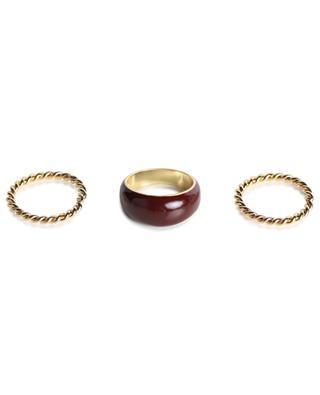 Goldener Ring mit Doppel-Wirbel und weinrotem Emaille San Marco DEAR CHARLOTTE