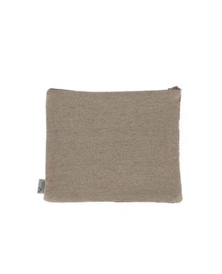 Medium cowhide and linen pouch ANGEL DES MONTAGNES