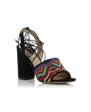 Beads embroidered suede sandals VALENTINO