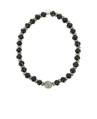 Onyx, pyrite, labradorite and silver beads bracelet MOMENTZ