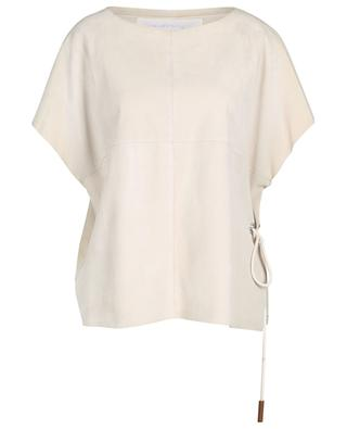 Loose sleeveless suede top with eyelet and cord FABIANA FILIPPI