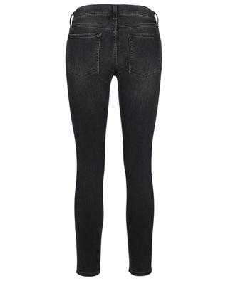 Jean noir déchiré détails cuir synthétique Super Skinny Crop 7 FOR ALL MANKIND