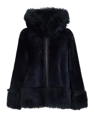 Manteau en cuir et fourrure d'agneau réversible SUPREMA