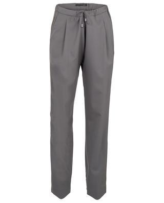 Pantalon fuselé en laine avec bandes latérales en daim FABIANA FILIPPI