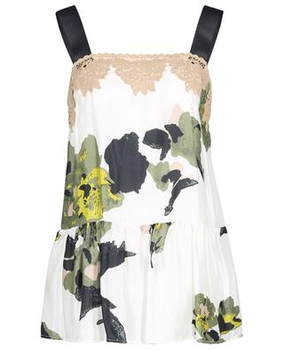 Lace embellished floral strappy top in twill TWINSET
