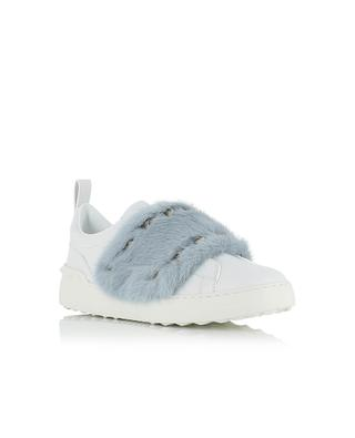 Open leather sneakers with fur VALENTINO