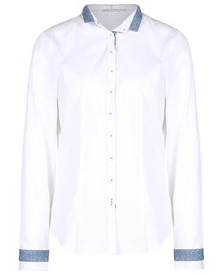 Poplin shirt with officers collar and blue lace WALLMANN