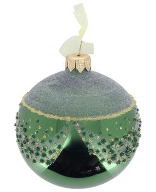 Green glitter christmas bauble KAEMINGK