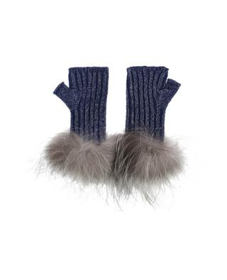 Virgin wool blend and fur mittens LORENA ANTONIAZZI