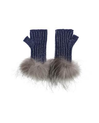 Fingerlose Handschuhe aus Schurwollmix mit Pelz LORENA ANTONIAZZI