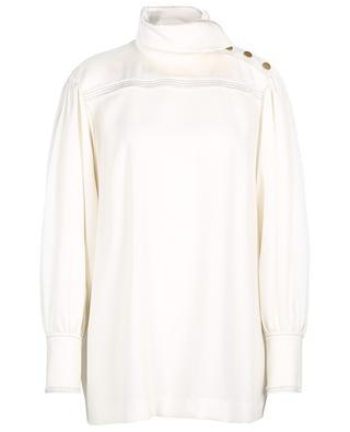 Crepe satin stand-up collar blouse SONIA RYKIEL