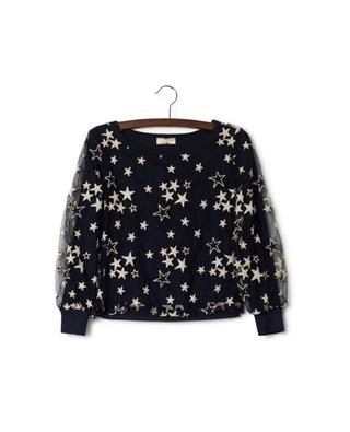Long-sleeved top embroidered with stars MONNALISA
