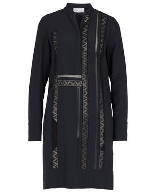 Robe tunique en crêpe ornée de dentelle graphique AKRIS PUNTO