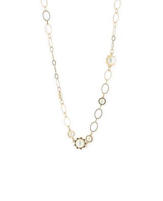 Lange Halskette aus Metall in Goldoptik mit Perlen TORY BURCH