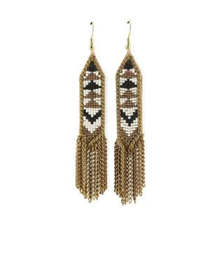 Leather, Beads and Chains Earrings FIONA PAXTON