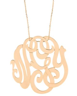 Lace Monogram MM 'NGY' pink golf necklace GINETTE NY