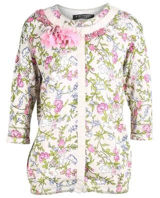 Floral printed cardigan with crystals and beads TWINSET