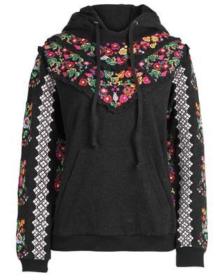 Kapuzensweatshirt aus Baumwollmix mit Kreuzstickereien NEEDLE &THREAD