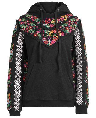 Cotton blend hoodie with cross-stitch embroideries NEEDLE &THREAD