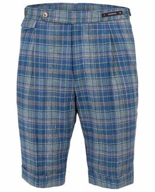 Silk and linen chequered bermuda shorts PT01