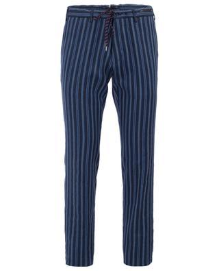 Pantalon rayé en lin mélangé PT01