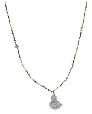 India gemstone pom-pom necklace GACHON POTHIER