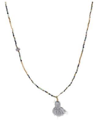 India gemstone pom-pom necklace GACHON POTHIER