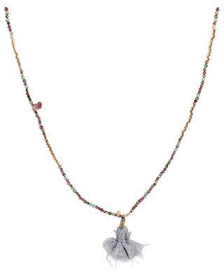 Lange Halskette mit Schmucksteinen und Metallperlen GACHON POTHIER