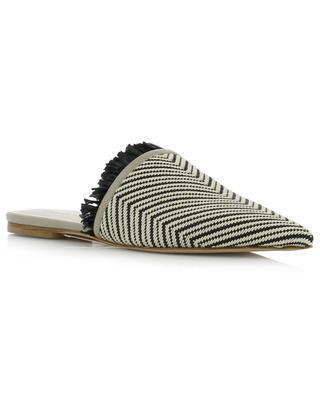 Lara chevron pattern raffia and leather flat slides FABIANA FILIPPI