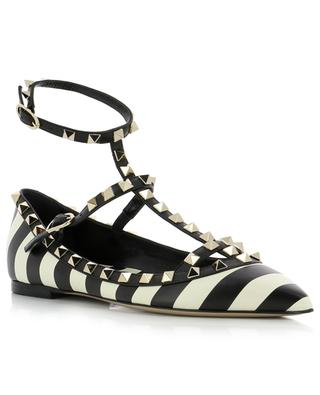 Rockstud striped leather ballet flats VALENTINO