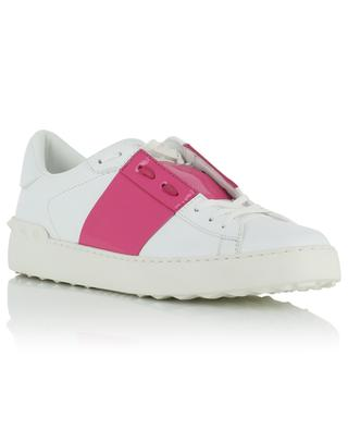 Open white leather sneakers with fuchsia patent leather VALENTINO