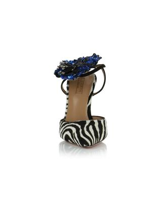 Escarpins ouverts en cuir de poulain zébré avec fleur Disco Flower 105 AQUAZZURA