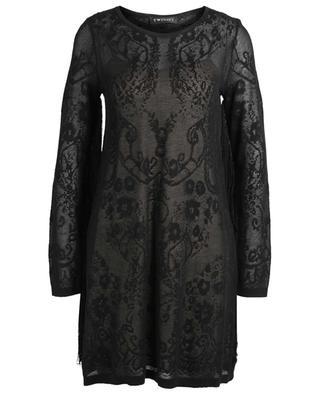 Robe courte en maille de coton mélangé à franges TWINSET