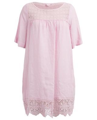 Kurzes Kleid mit Spitze 120% LINO
