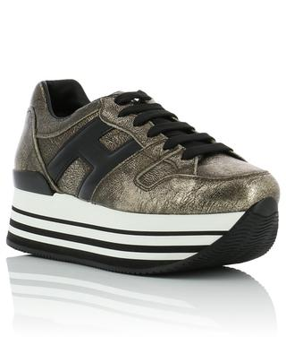 H283 golden leather platform sneakers HOGAN