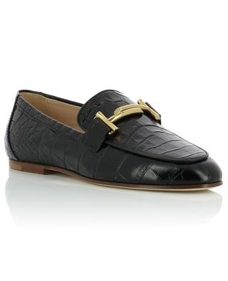 Croc effect leather loafers TOD'S