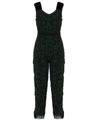 Fritillary lace and velvet jumpsuit EZGI CINAR