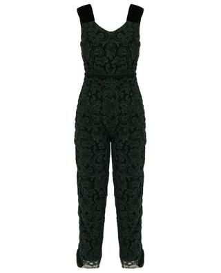 Fritillary lace and velvet jumpsuit EZGI CINAR