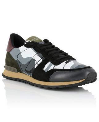 Camouflage Rockrunner fabric and leather sneakers VALENTINO